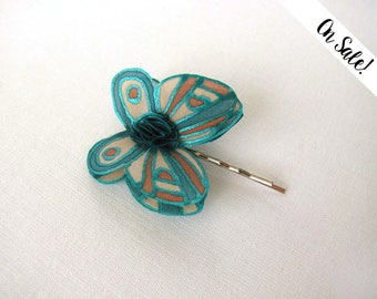 mint, beige and brown silk butterfly - hand painted silk hair bobby pin - ***Item on sale*** Previous price : 9.50 EUR