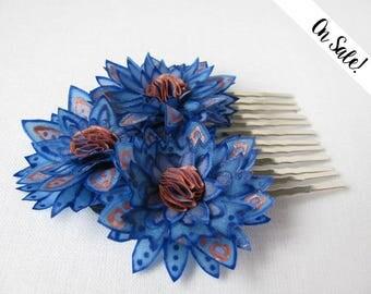 Hair brooch / decorative comb - bridal hair comb - blue hair comb - Three silk cornflowers - ***Item on sale*** Previous price : 36 EUR