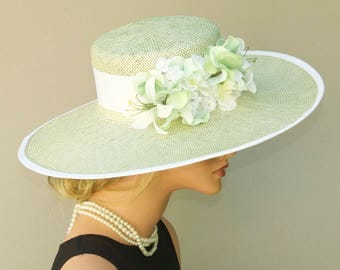Wedding Hat, Wide Brim Hat, Church Hat, Derby Hat, Mint Green Hat, Formal hat, Garden Party Hat, Tea Party Hat, Women's Pale Green Straw Hat