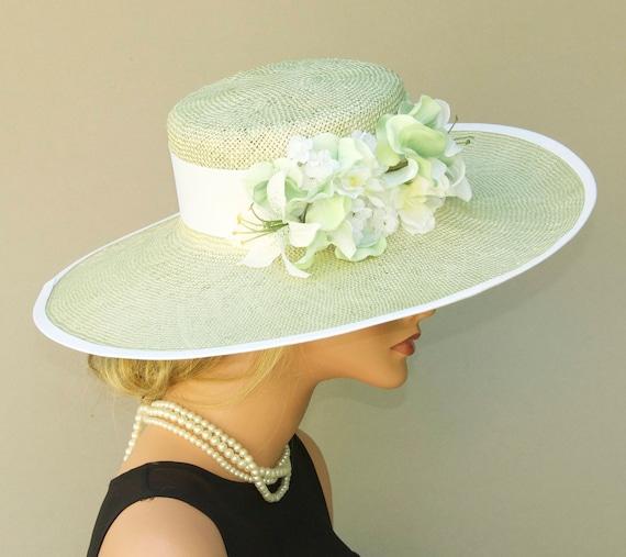 Wedding Hat, Wide Brim Hat, Church Hat, Derby Hat, Mint Green Hat, Formal hat, Garden Party Hat, Tea Party Hat, Women's Pale Green Straw Hat