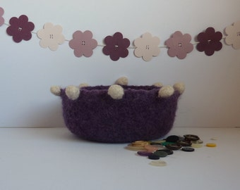 FELTED 'FUSSPOT' bowl ' Imperial ' ( with bobbles on ! ) ....UK seller..ready to ship......