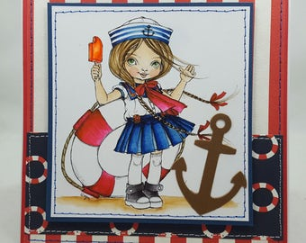 Sailer Girl - Sailing - Kids - Sea - Nautical - Blank NoteCard, Greetings Card, Handmade, Friendship