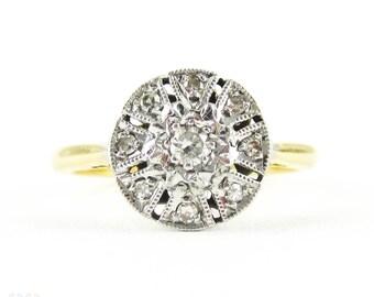 Diamond Cluster Engagement Ring, Mid Century Circlular Diamond Ring by Ronette. 18ct Plat, Circa 1940s.