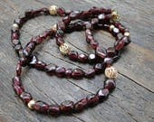 Smooth Garnet Layering Necklace / Mother's Day Gift / Garnet Necklace / Gold Plated Beads / Boho Chic Necklace / Accessories