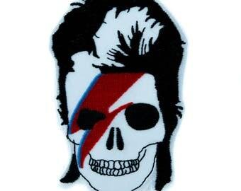 David Bowie Skull Lightning Bolt Patch Iron on Applique Ziggy Stardust - YDS-EPJS238-PATCH