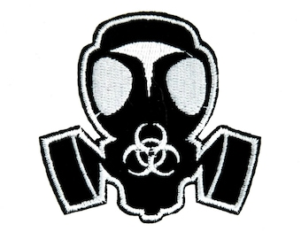 Bio Hazard Gas Mask Patch Iron on Applique Alternative Clothing Zombie Apocalypse - YDS-PA-213-PATCH