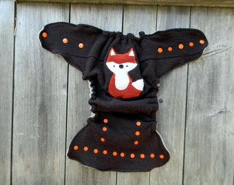 Upcycled Merino Wool Nappy Cover Diaper Wrap Cloth Diaper Cover One Size Fits All Brown With Fox Applique / Oatmeal