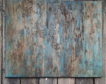 Original Texture Abstract Painting 24 x 30, Modern Turquoise and Bronze Canvas Art