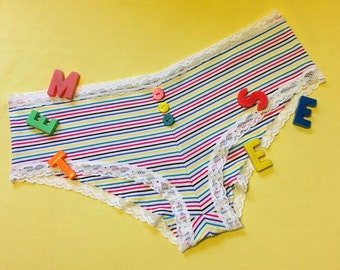 striped panties (size L) with white lace elastic and multi coloured buttons - 80s inspired