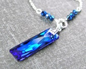Dark Blue Crystal Necklace Sterling Silver Swarovski Crystal Royal Blue Pendant Necklace Deep Ocean Blue Rectangle Prism Necklace