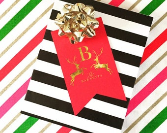 Custom Monogram Gift Tag, Prancing Reindeer Personalized Gift Tag for Gifts, Holidays, Weddings and More