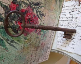 Antique Cast Iron Metal Extra Large French Skeleton Key - Castle Key