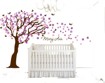 Cherry blossom tree wall decal nursery wall decal custom color boy or girl nursery tree wall sticker large