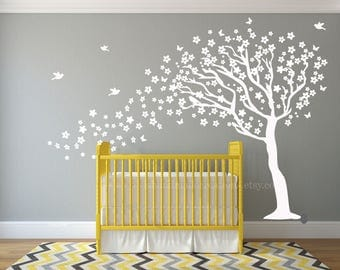Ordinaire Kid Wall Decal Tree Wall Decal Nursery Cherry Blossom Tree Nursery Arbre Nursery  Wall Decals White