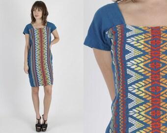 Mexican Dress Guatemalan Dress Boho Dress Ethnic Dress Blue Dress Vintage 70s Dress Embroidered Dress Boho Hippie Festival Mini Dress