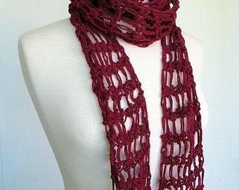 Summer Breeze Lightweight Cotton Scarf in Burgundy Red