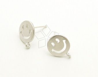 SI-782-MS / 2 Pcs - Smiley Face Stud Earrings, Smile Ear Posts, Happy Face Earrings, Matte Silver Plated over Brass / 9mm