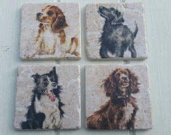 Working Dogs/Puppies Coaster Set of 4 Tea Coffee Beer Coasters