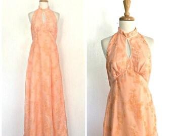 Vintage Halter Dress - boho maxi - hippie dress - floral - festival dress - peach dress - cut out - 70s dress - S M