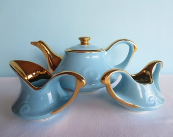 Vintage Blue Teapot, Creamer and Sugar Bowl with Lid - 22 kt Gold - Pearl China Company Teapot