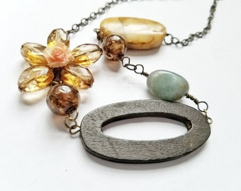 Mixed Media Necklace: Lola - Abstract Pink, Brown, Yellow, Blue Necklace in Stone, Wood and Plated Metal (OOAK)
