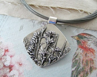 Splendor, Fine Silver Flower Pendant, Natural Plant Reproduction, Wildflowers, Handmade by SilverWishes
