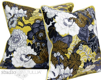 Schumacher Pillow Cover -  Shanghai Peacock -  Brass -  Lumbar Pillow Cover - 20X20 - chinoiserie - asian - ready to ship