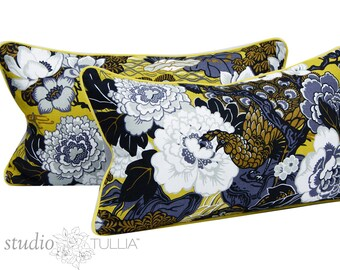 Schumacher Pillow Covers - 12 x 24 - Set of TWO - Lumbar - Shanghai Peacock - Brass - Yellow - Black - designer pillow cover - ready to ship
