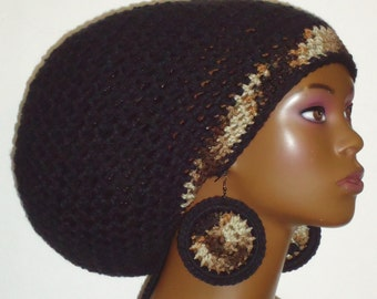 Camouflage Trim Crochet Large Tam with Drawstring and Disc Earrings by Razonda Lee Razondalee Dreadlocks Rasta Tam