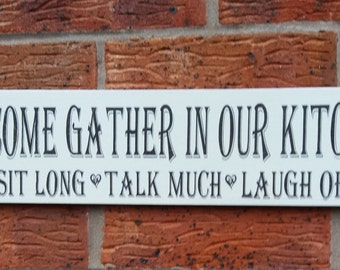 Shabby chic come gather in our  kitchen wooden sign plaqe 16x4 large