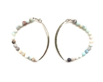Silver Leaf Bracelet (Etched or Smooth) Beaded with Matte Amazonite Gemstone Beads