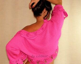 Candy Pink Knit Shrug, Crochet Shrug, Wedding Shrug Bridal Bolero, Sweater Cardigan, Crochet Bolero, Bridal Shrug, Wedding Cover Up, Sale