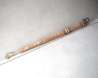 Figured Wood & Brass Back Scratcher High Quality Hand Turned Backscratcher