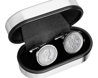 61st birthday  - 1956 Old English sixpence Cufflinks - Includes presentation box - 100% satisfaction