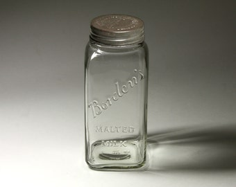 Vintage Borden's Malted Milk Glass Jar with Original Lid - circa Early 1900's