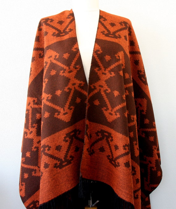 Rust orange and brown aztec poncho southwestern poncho native clothing tribal poncho ethnic wrap boho cardigan bohemian cape christmas gift