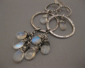 Long Dramatic Sterling Silver Hoop Earrings with Rainbow Moonstone