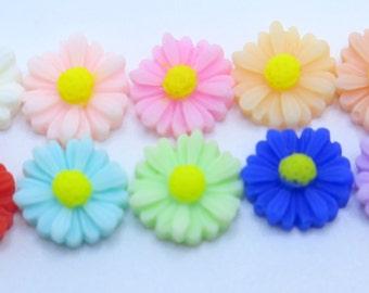 10PCS - Daisy Flower Cabochons - 12mm - Sampler Pack - 10 Colors
