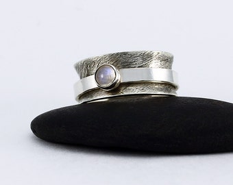 Size 8 Ring Handcrafted Sterling Silver and Rainbow Moonstone Natural Stone Cabochon Spinner Fidget Ring Contemporary Jewelry 2763645012717