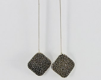 """Handcrafted Sterling Silver Square """"Stardust"""" Drop Earrings Thoroughly Modern Minimalist Contemporary Artisan Jewelry Design 2999642111017"""