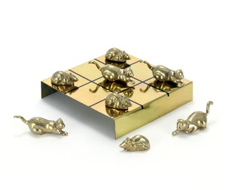 vintage brass cat and mouse tic tac toe