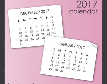 2017 Calendar Clip Art in Sans Serif Font - with year