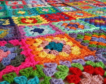 "Granny Squares BLANKET Afghan Crocheted 70"" x 50""  Sofa Throw"