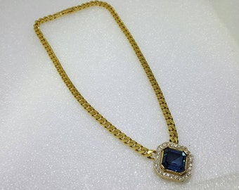 Blue Dazzle Sphinx signed gold tone Necklace mint condition Large stone gold chain