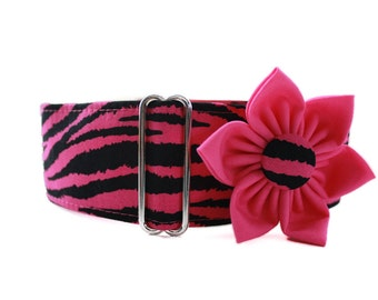 Martingale Collar Greyhound, Hot Pink Martingale Collar and Collar Flower, 2 Inch Martingale Collar, Pink Dog Collar