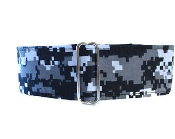 Camo Martingale Collar, Wide Dog Collar, Camo Dog Collar, Black Martingale Collar, Greyhound Collar, Black Dog Collar, Whippet Collar