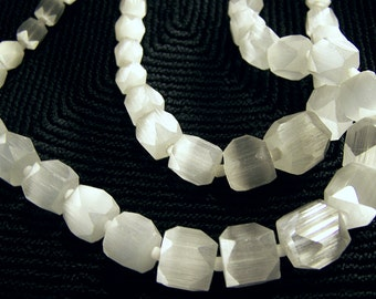 Vintage Ivory Satin Atlas Glass Bohemian Bead Necklace