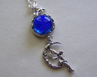 Celestial Faery Cobalt Blue Twinkle Moon Necklace