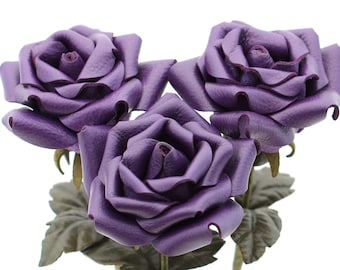 Purple leather rose bouquet third Anniversary wedding gift Long Stem leather Flower Valentine's Day 3rd Leather Anniversary Mother's Day