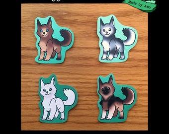 "Doggo Color Mutations, set of 4 - 2""x2"" Stickers"
